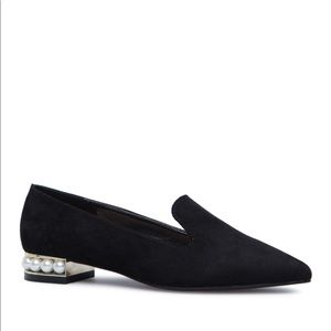 Shoe Dazzle Michelle Black Pearl Pointy Loafers